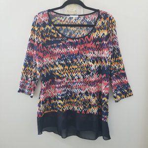 Ava James Multicolored 3/4 Sleeve Size Medium